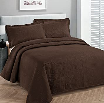 Great Fancy Collection 3pc Luxury Bedspread Coverlet Embossed Bed Cover Solid  Coffee/brown New Over Size