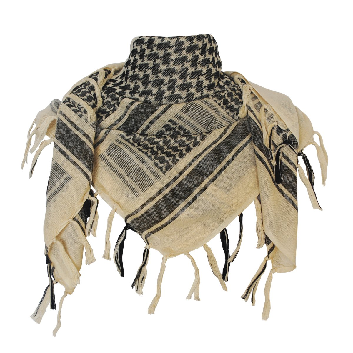 Explore Land 100% Cotton Military Shemagh Tactical Desert Keffiyeh Scarf Wrap (Black and Green)