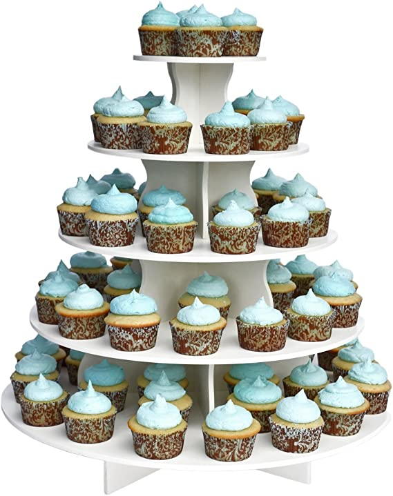 The Smart Baker 5 Tier Round Cupcake Stand PRO- Holds 90+ Cupcakes