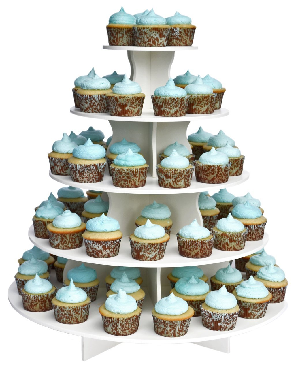 The Smart Baker 5 Tier Round Cupcake Stand PRO- Holds 90+ Cupcakes As Seen on Shark Tank Professional Cupcake Tower by The Smart Baker