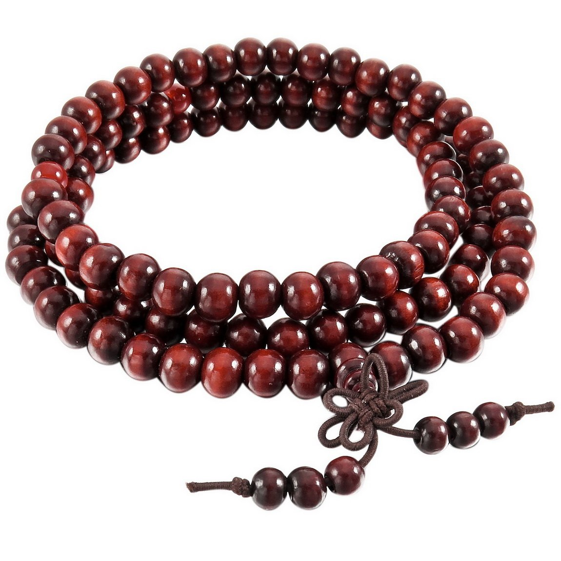 INBLUE Men, Women's 8mm Wood Bracelet Link Wrist Necklace Chain Tibetan Buddhist Sandalwood Bead Prayer Buddha Mala Chinese knot Elastic INBLUE Jewelry mnb0912-2
