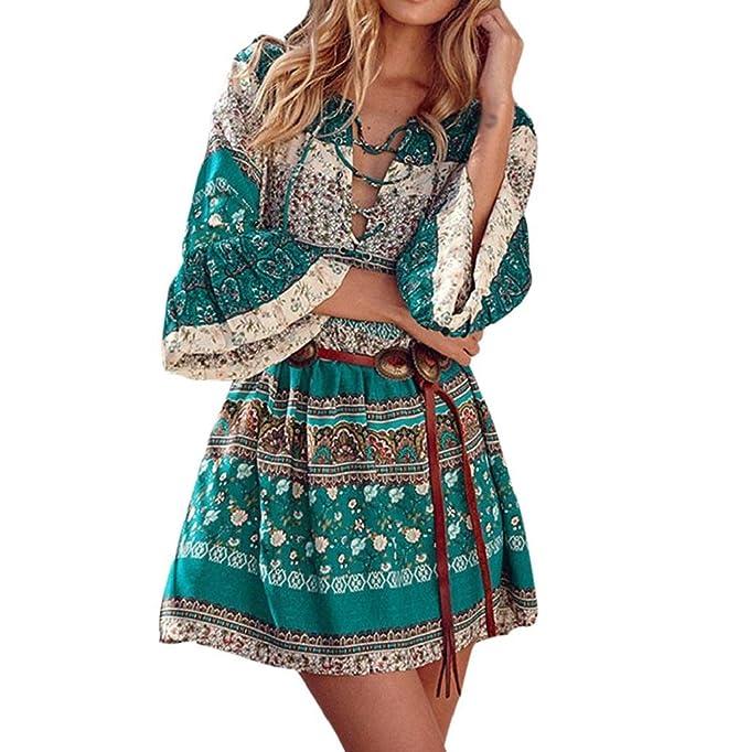 vestidos de fiesta cortos Sannysis Vestidos Boho con Manga de tres cuartos, Estampado floral (