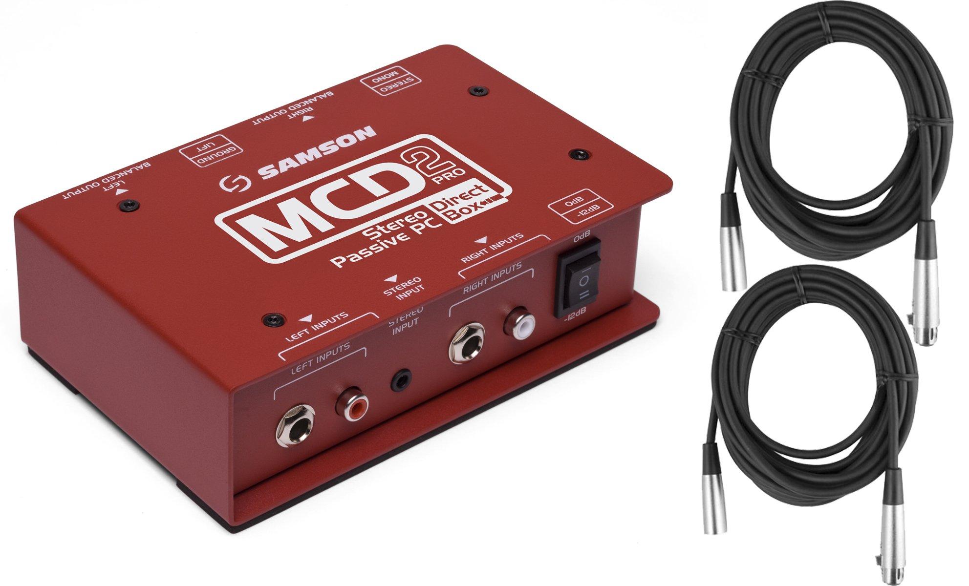 Samson MCD2 PRO Professional Stereo Computer/DJ Direct Box (Shielded Transformer) w/ 2 XLR Cables