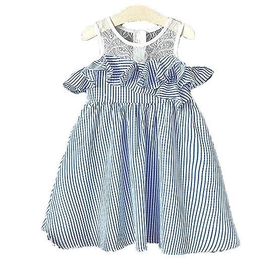 705c1a490 Amazon.com  beBetterstore Toddler Baby Girl Irregular Striped Dress ...