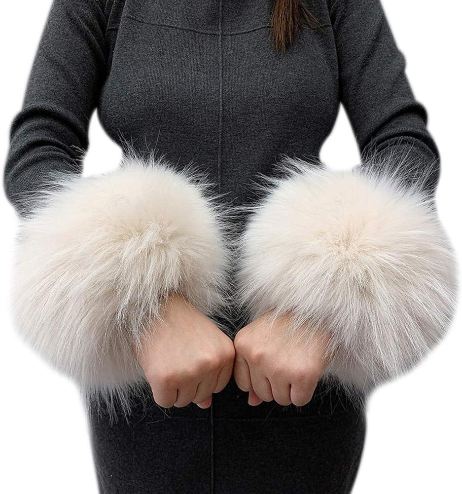 Asudaro Winter Warme Wrist Band Cuffs W/ärmer Handschuhe Fell Pelz Stulpen Armstulpen Manschetten Fellstulpen Pulsw/ärmer Faux Pulsw/ärmer Manschetten f/ür Damen M/ädchen