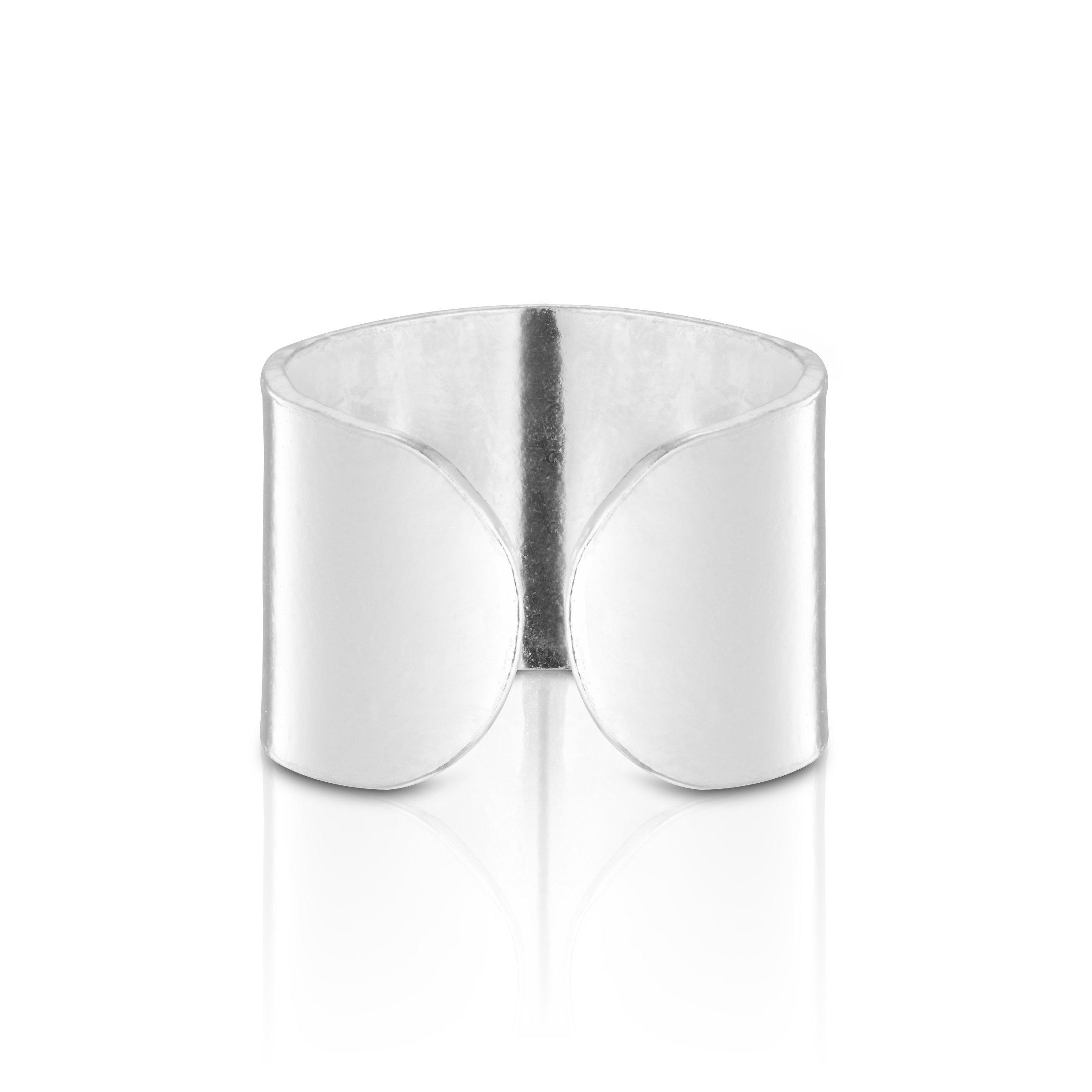 925 Sterling Silver Wide Round Silver Top Ear Cuff Ear For 1 Ear Earring by BELLETTOJEWELRY (Image #3)