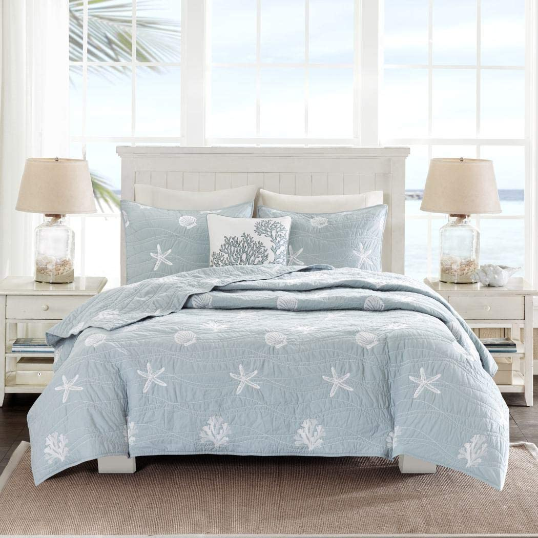 4 Piece Chic Grey Blue White King/Cal King Coverlet Set, Beach Themed Bedding Seashell Starfish Stylish Trendy Modern Pretty Nautical Beach Seaside Coastal Cute Coral, Cotton