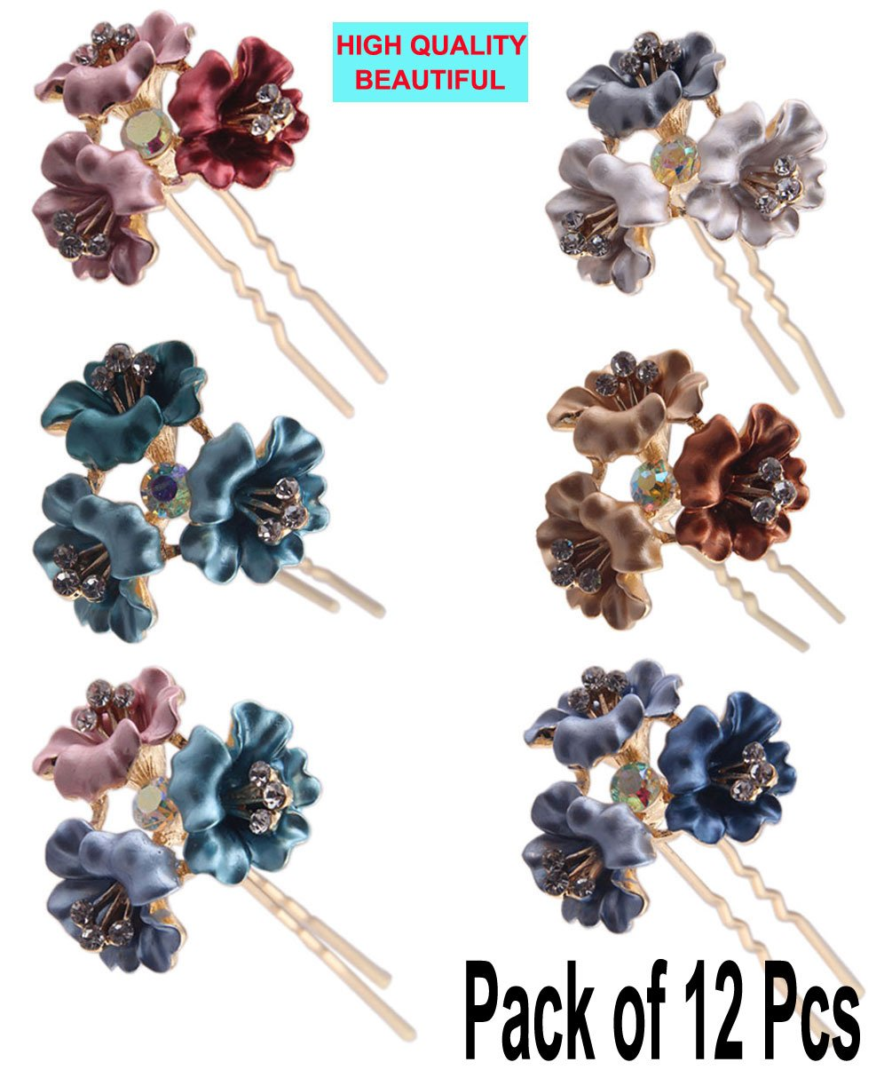 (Pack of 12 Pcs) LiveZone Beautiful Hair Ornaments Maker Colorful Flowers U Shaped Bobby Pins Crystal Rhinestones Hair Pins Stick for Women Girls (Flowers 2)