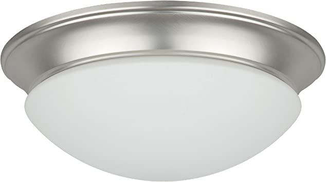 Satin Nickel Finish Sunset Lighting F7194-53 Flush Mount with Easy Twist Satin Opal Glass