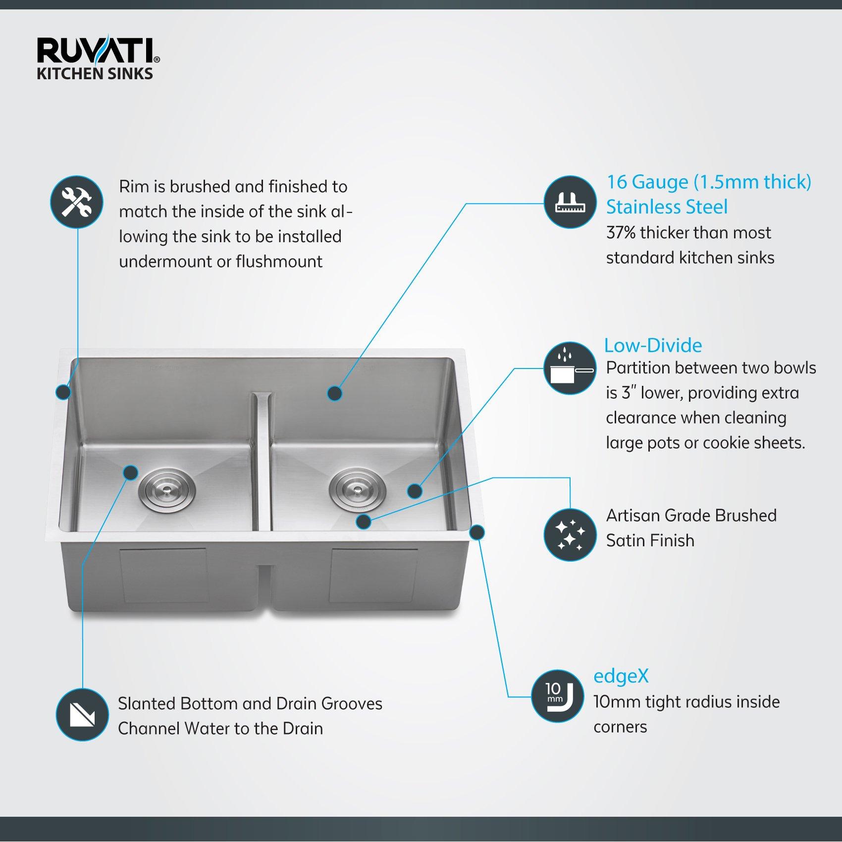 Ruvati 32-inch Low-Divide Undermount Tight Radius 50/50 Double Bowl 16 Gauge Stainless Steel Kitchen Sink - RVH7411 by Ruvati (Image #2)