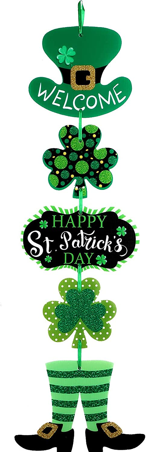 Patricks Day Decoration Patricks Day Door Sign St Patricks Day Themed Hanging Welcome Sign Irish Hanging Door Decor with Shamrock Leprechaun High Hat and Feet Wall Sign Ornament for St St