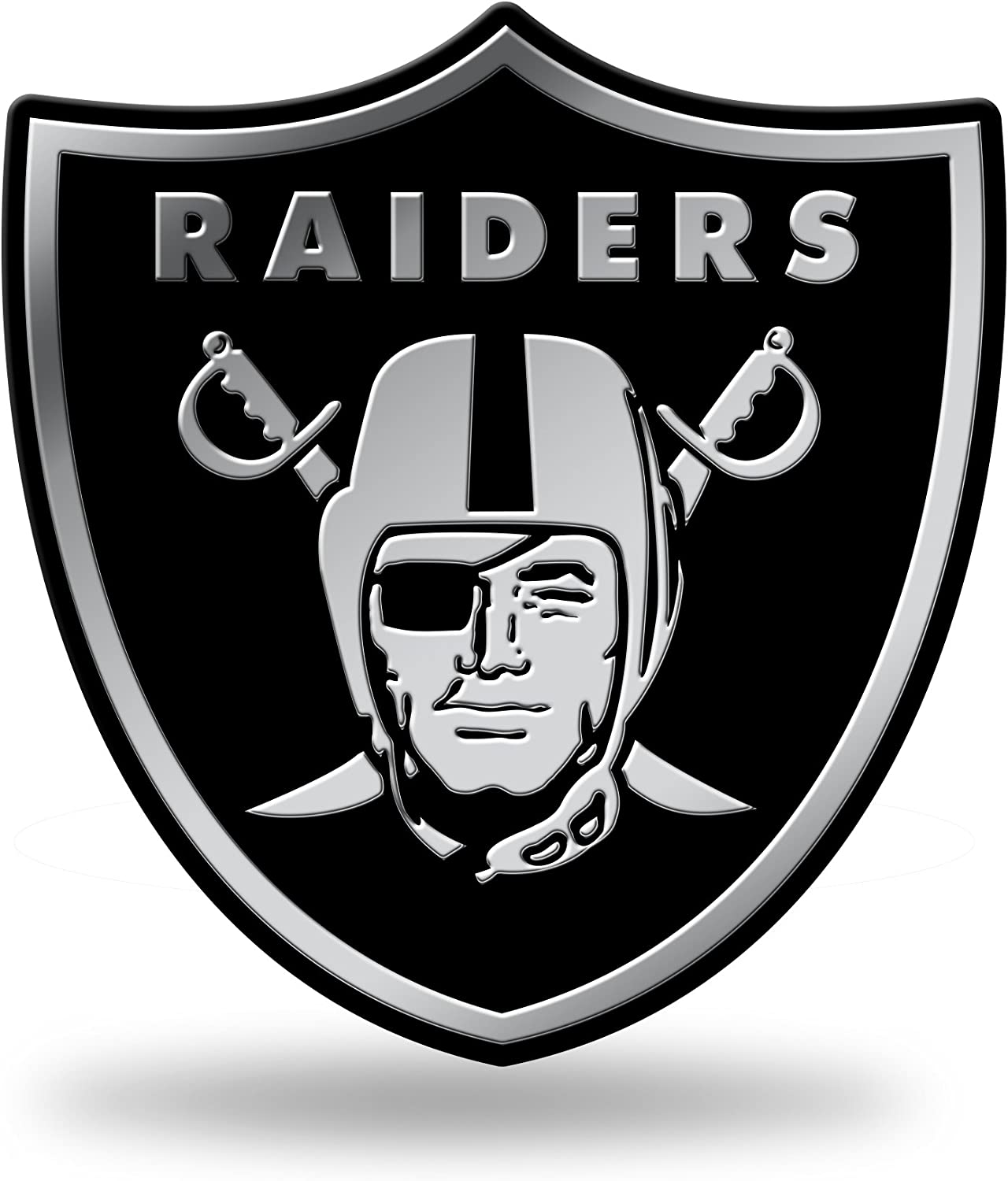 NFL Rico Industries  Chrome Finished Auto Emblem 3D Sticker Oakland Raiders