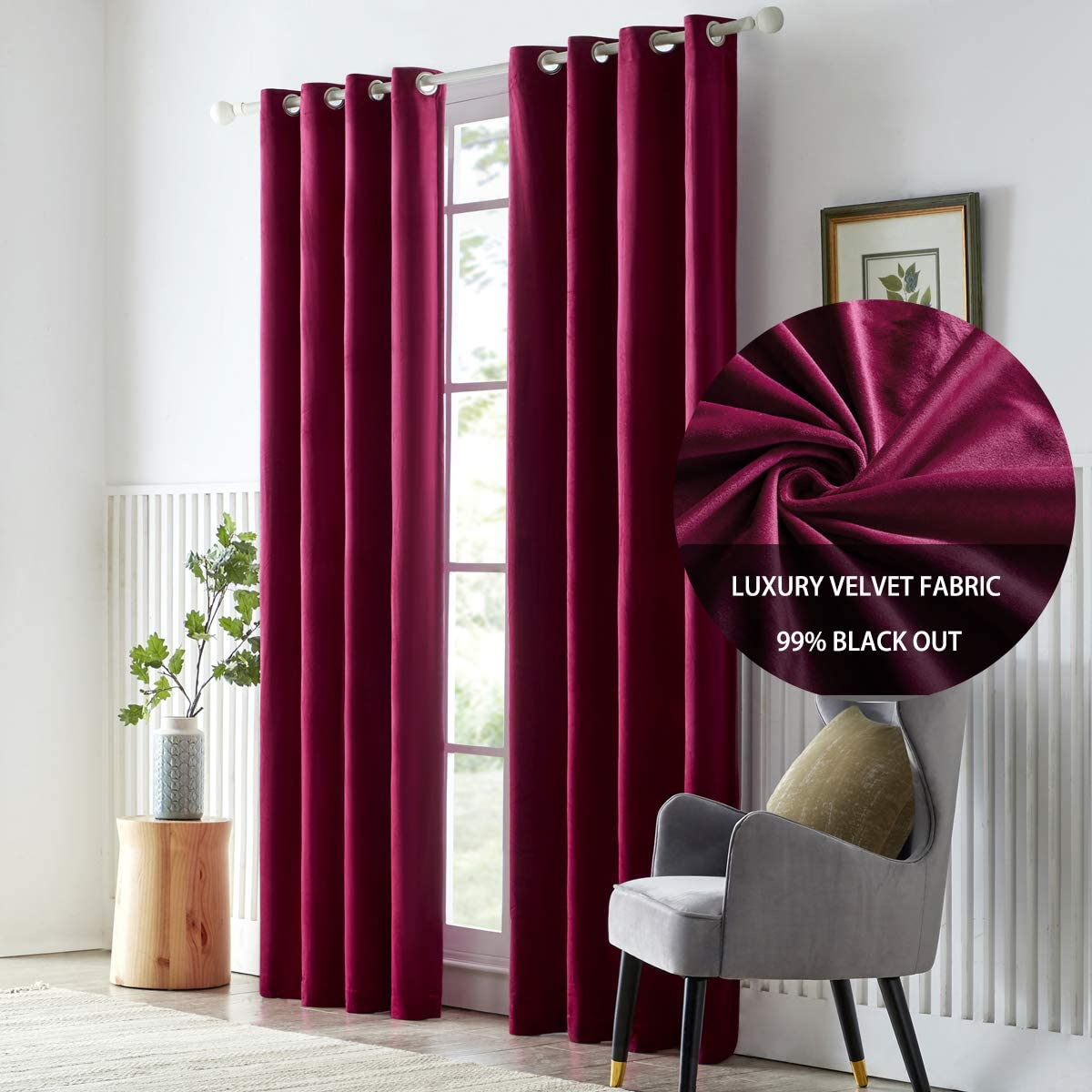 GIGIZAZA Velvet Wine Red Thermal Curtain 95 inch Long,Burgundy Black Out Darkening Curtains for Living Room Bed Room,Set of 2 Panel Light Blocking