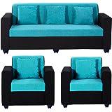 Bharat Lifestyle Desy 5 Seater Sofa Set 3+1+1 (Aqua Blue & Black)