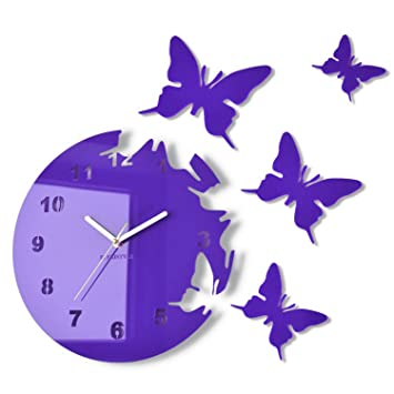 Modern wall clock BUTTERFLIES circular no ticking Purple
