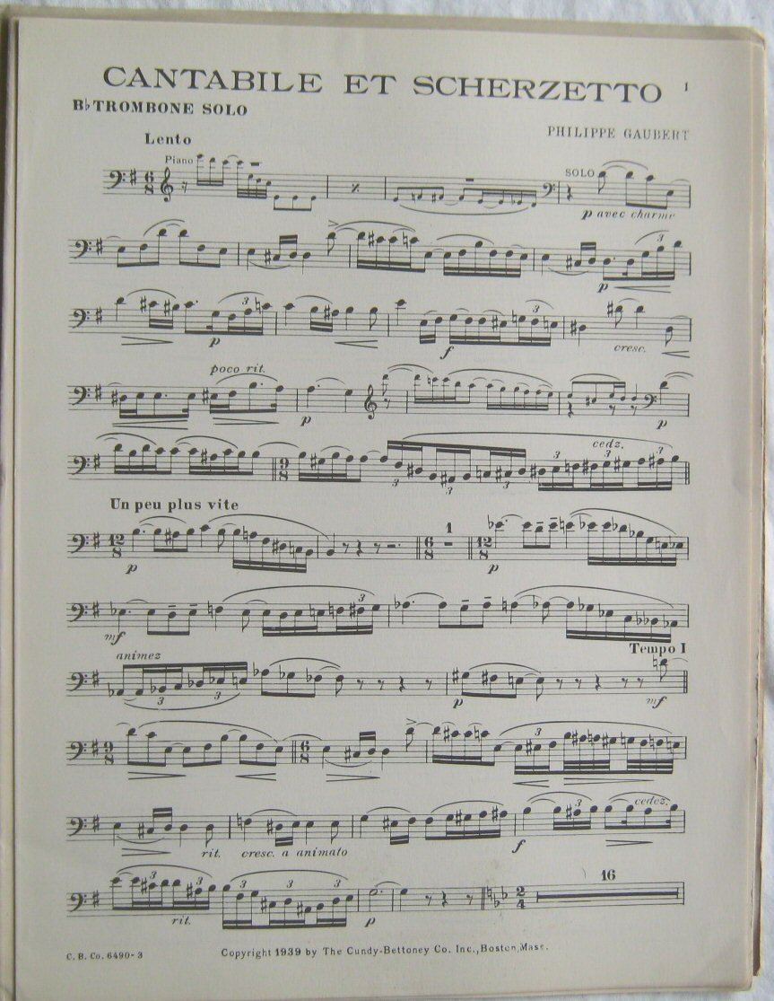 Cantabile Et Scherzetto Trombone Solo w/ Piano
