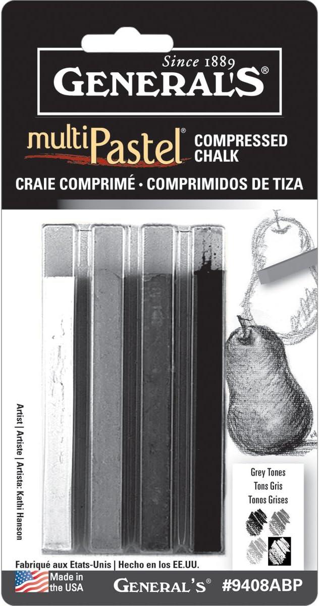 Multi Pastel Compressed Chalk Sticks 4//Pkg-Grey Tones