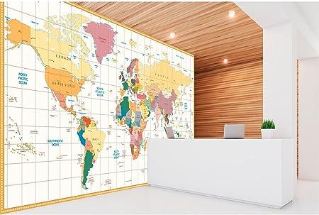 Papel Pintado Pared Mapamundi Político Fondo Beige | Fotomural para Paredes | Mural | Papel Pintado | Varias Medidas 350 x 250 cm | Decoración comedores, Salones, Habitaciones.: Amazon.es: Hogar