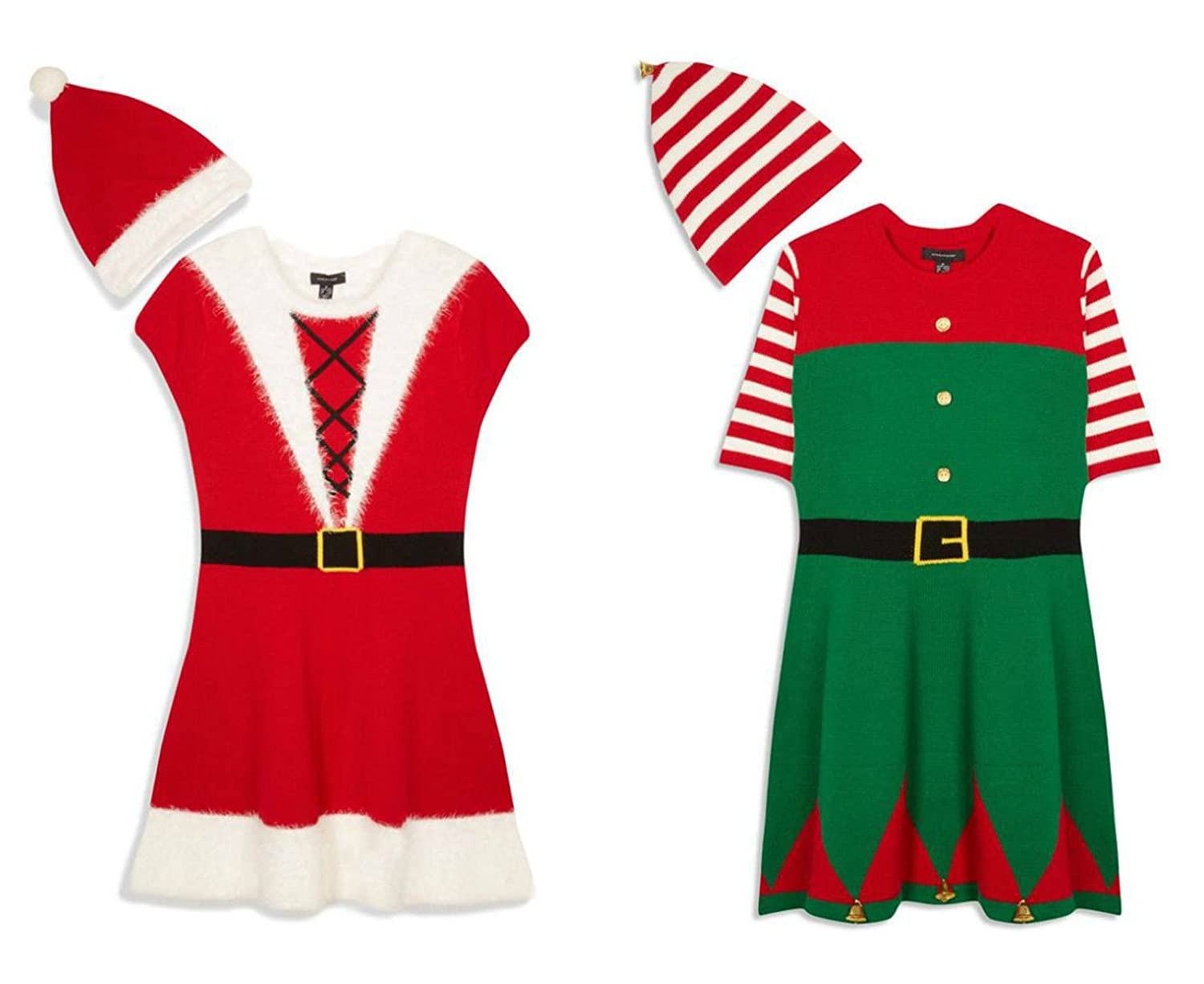 Santa or Elf Knitted Christmas Dress Includes Hat Sizes UK 6-20