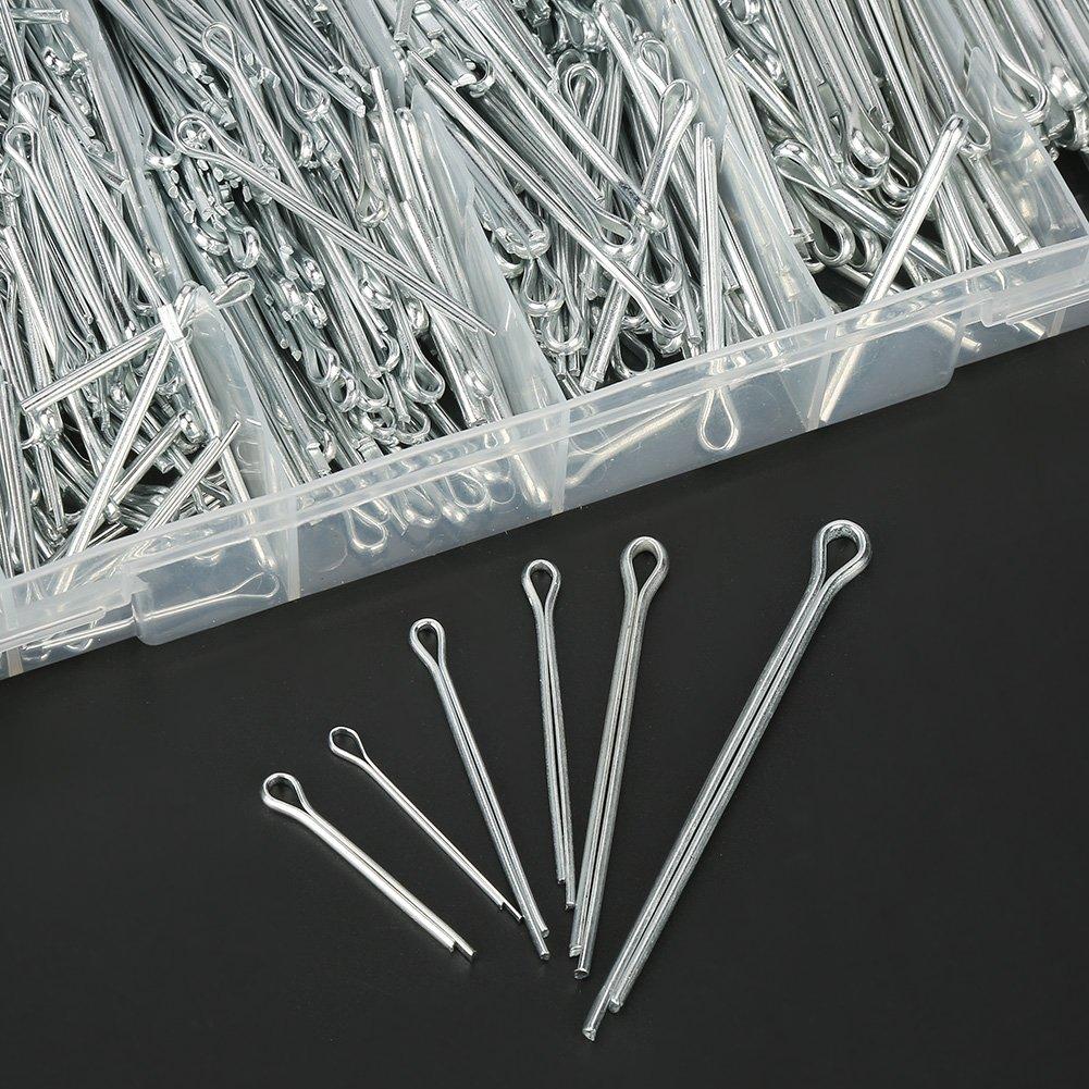 1000pcs 6 Types Outil de Suppression en Acier Inoxydable Split Goupilles Fendues Assortiment Kit de Fixation Ensemble