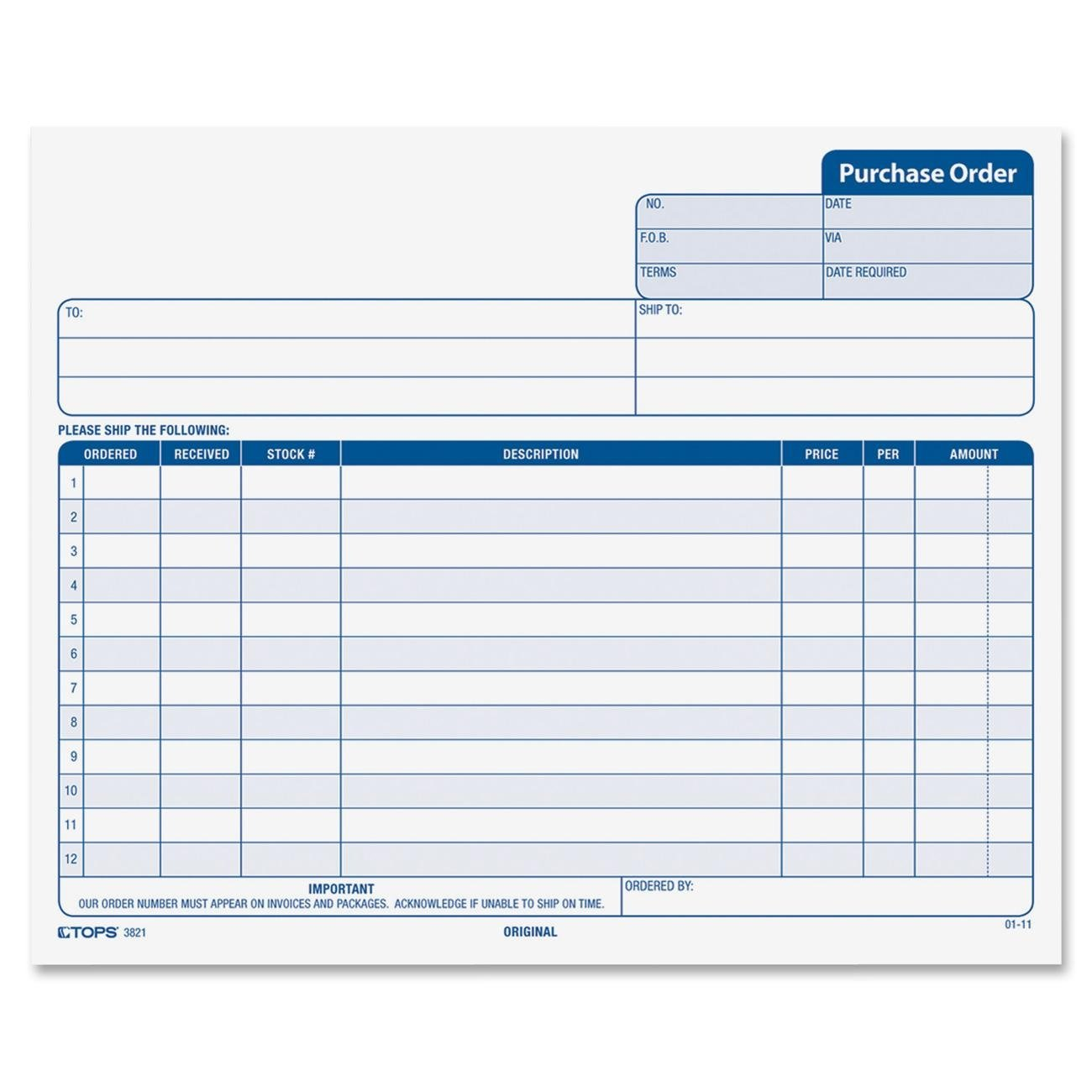 Amazon.com : TOPS Purchase Order Forms, 3 Part, Carbonless, Phantom Rule,  8.5 X 7 Inches, 50 Sets Per Pack (3821) : Blank Purchase Order Forms :  Office ...  Product Order Form Template