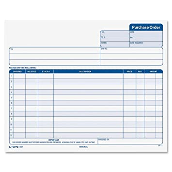 AmazonCom  Tops Purchase Order Forms Part Carbonless