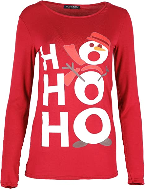 Damen Weihnachten T-shirt Elfe Kostüm Candy-stick Langärmliges Oberteil