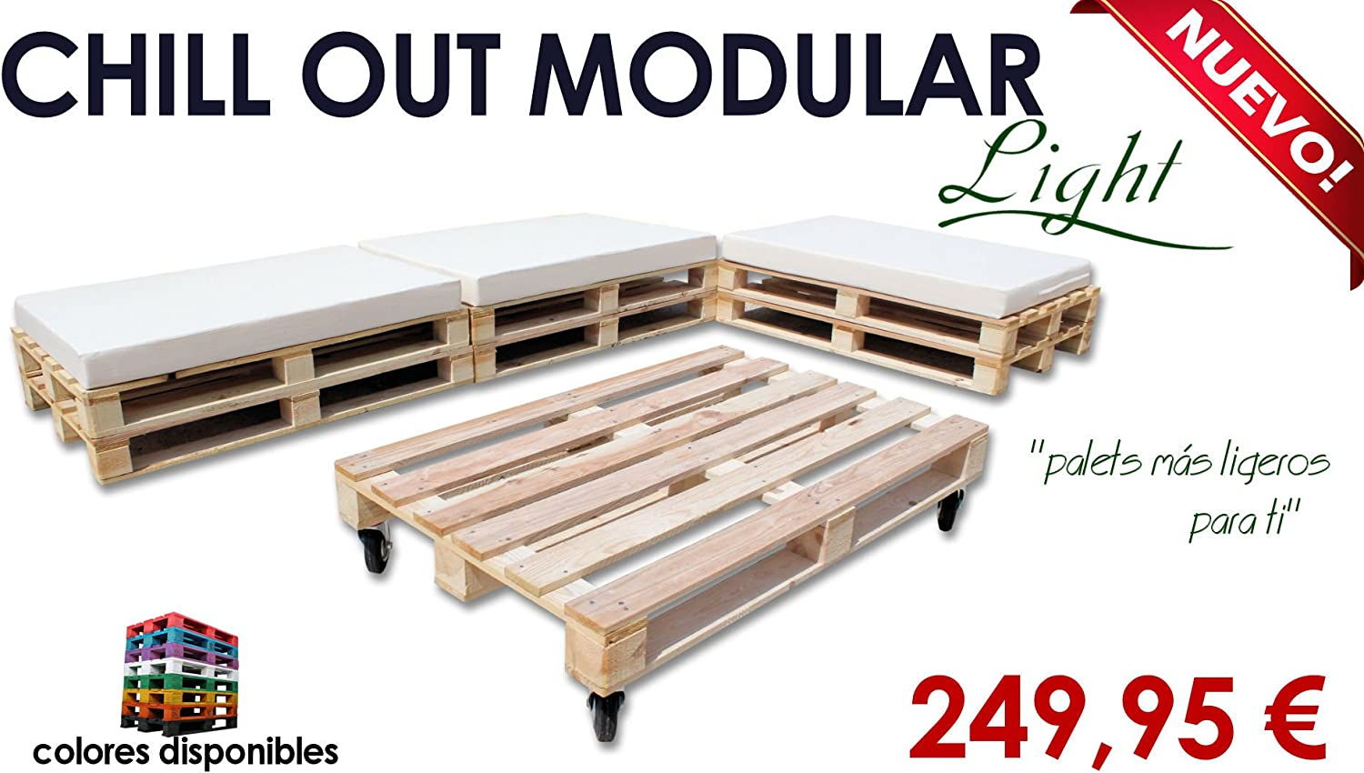 Chill out Light modular palets para jardín y terraza (Palet madera natural): Amazon.es: Hogar
