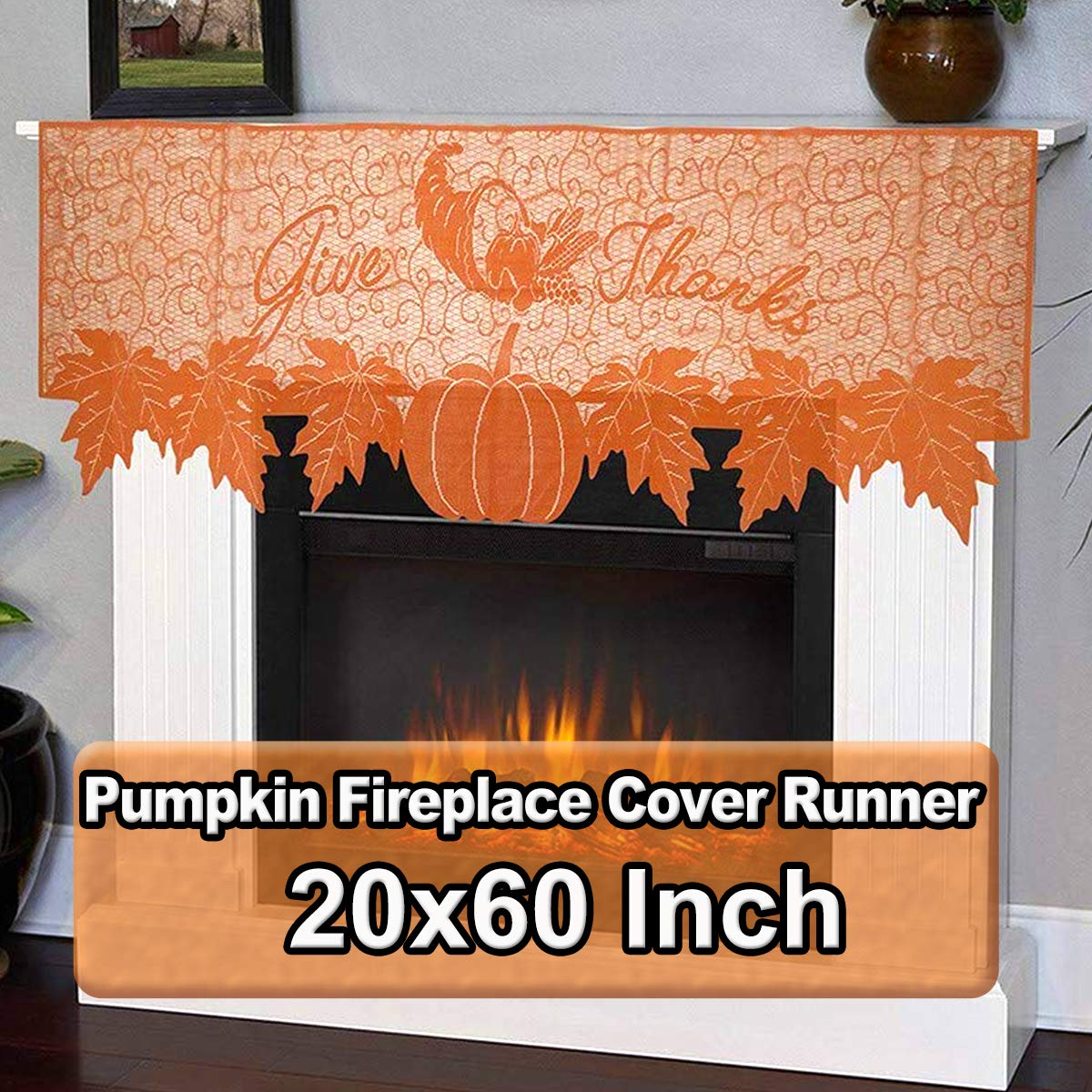 Thanksgiving Decoration Lace Pumpkin Fireplace Mantle Scarf Cover Runner 20x60 Inch Orange Pumpkin Maple Leaf Table Cover For Fall Seasonal Decor