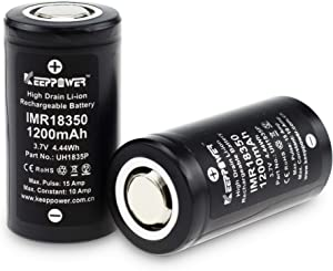 Keeppower IMR18350 High Drain Li-ion Battery Flat Top Rechargeable 1200mAh 10A Discharge 3.7V Lithium Battery (Pack of 2)