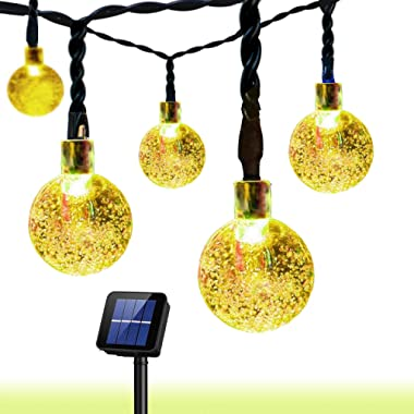 Outdoor Solar String Light Garland 30LED Fairy String Lights Bubble Crystal Ball Lights Decorative Lighting for Indoor, Garden, Home, Patio, Lawn, Party,Holiday,Ooutdoor Decor(20FT) (Warm White)