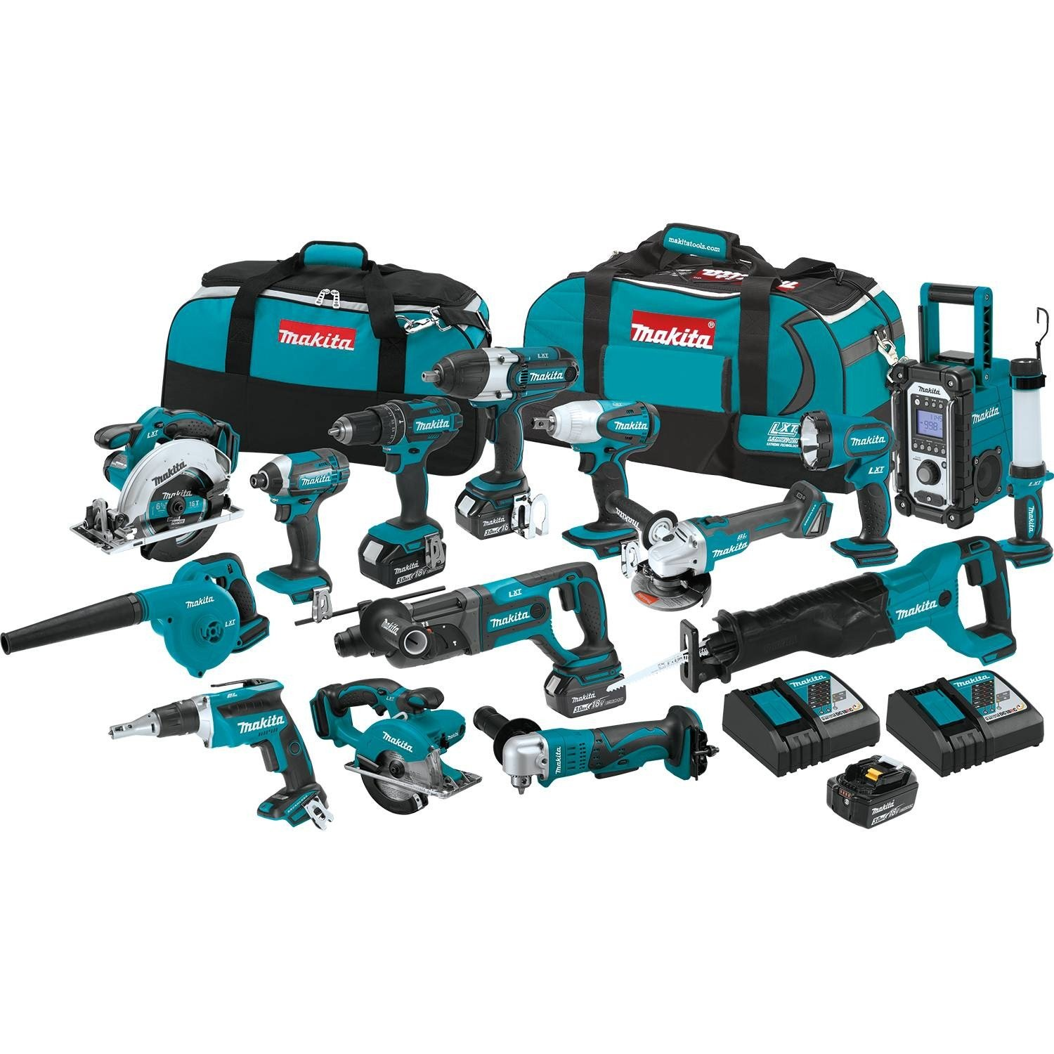 Makita XT1501 3.0Ah 18V LXT Lithium-Ion Cordless Combo Kit 15 Piece