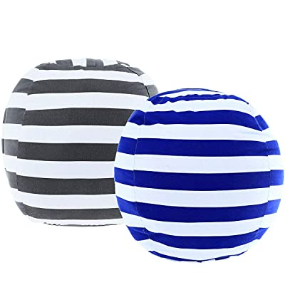 "DeElf 2 Pack Stuffed Animal Storage Bean Bag Cover 23"" for Kids Room DIY Bean Bag Chair Covers Only White Grey Blue Strips: Kitchen & Dining"