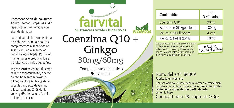 Co-enzima Q10 plus Ginkgo - 1 mes - VEGANO - ALTA DOSIS - 90 Cápsulas: Amazon.es: Salud y cuidado personal