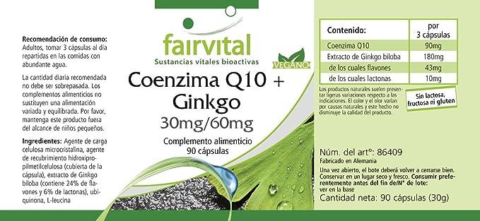 Co-enzima Q10 plus Ginkgo - VEGANO - Altamente dosificado ...