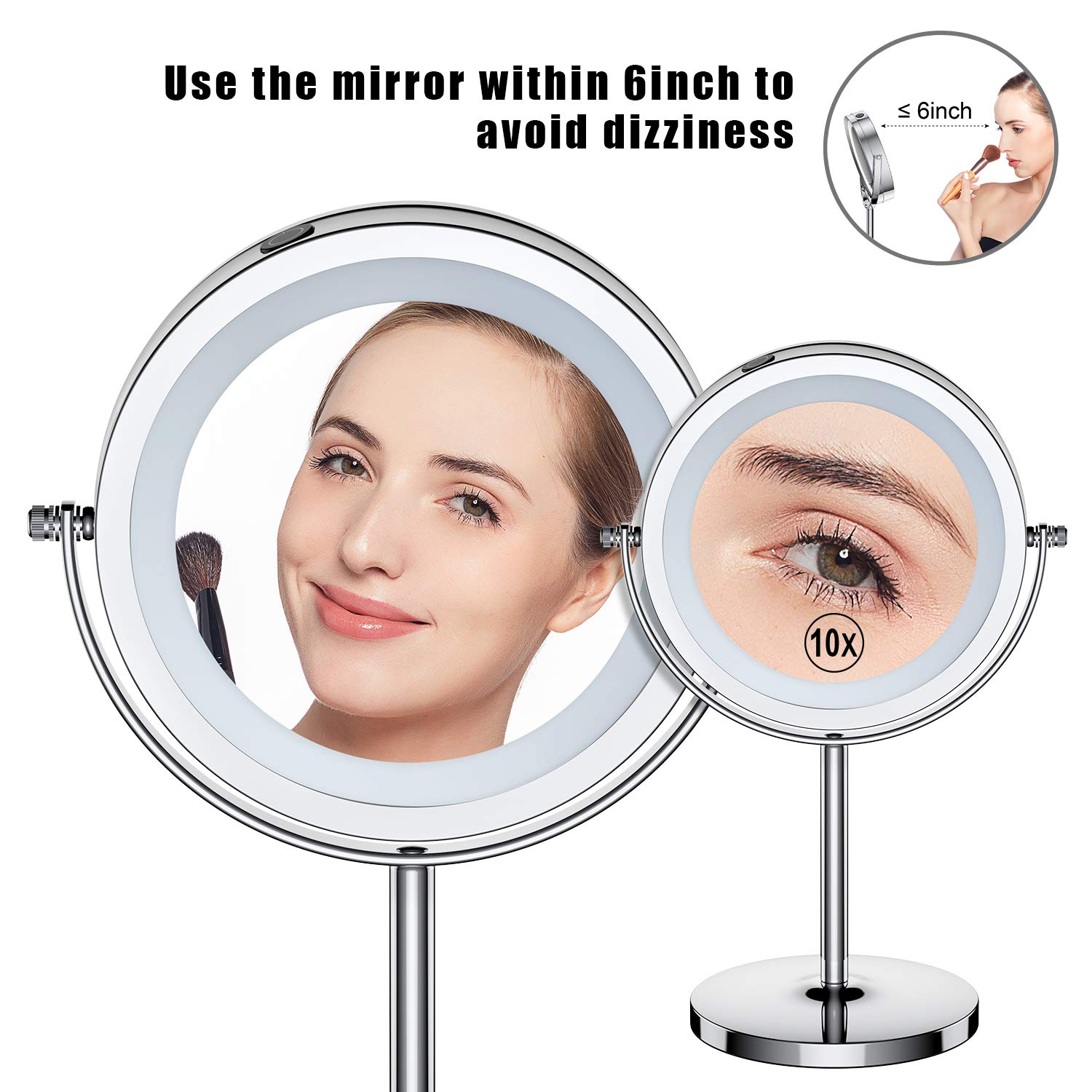 7 Inch 1x//10x Magnifying Mirror Touch Control Double Sided Magnified Vanity Mirror With Stand Battery Operated Benbilry LED Lighted Makeup Mirror 10x Dimmable Mirror
