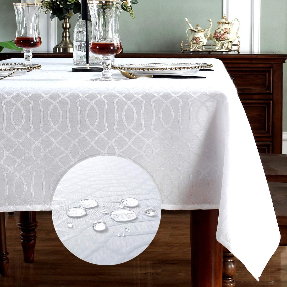 SMART&CASUAL Table Cloth Rectangle Jacquard Waved Waterproof Spillproof Wrinkle Free Washable Fall Tablecloth Decorative Cover Holiday Parties Kitchen Dining (White 60