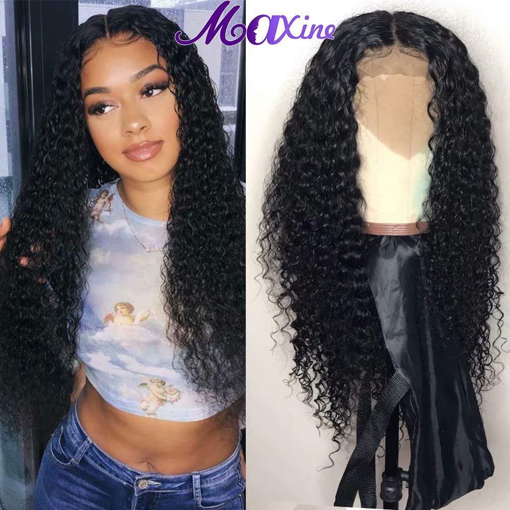 Maxine Curly Human Hair Wig, Deep Curly Lace Front Wig Pre Plucked with Baby Hair 13x4 Lace Front Human Hair Wigs for Black Women(16inch)
