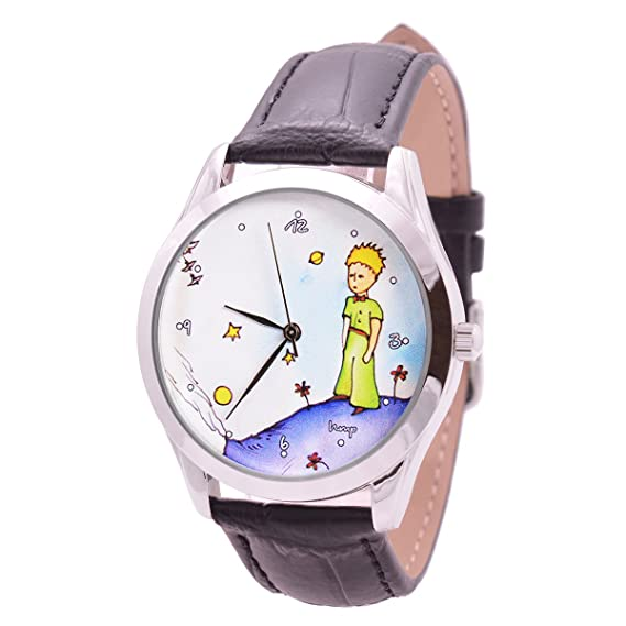 Amazon.com: Watch For Men And Women - Japan Movt - Black Leather Band - Quartz Analog Unisex Wrist Watch 38mm - The Little Prince - Best Original Unique ...