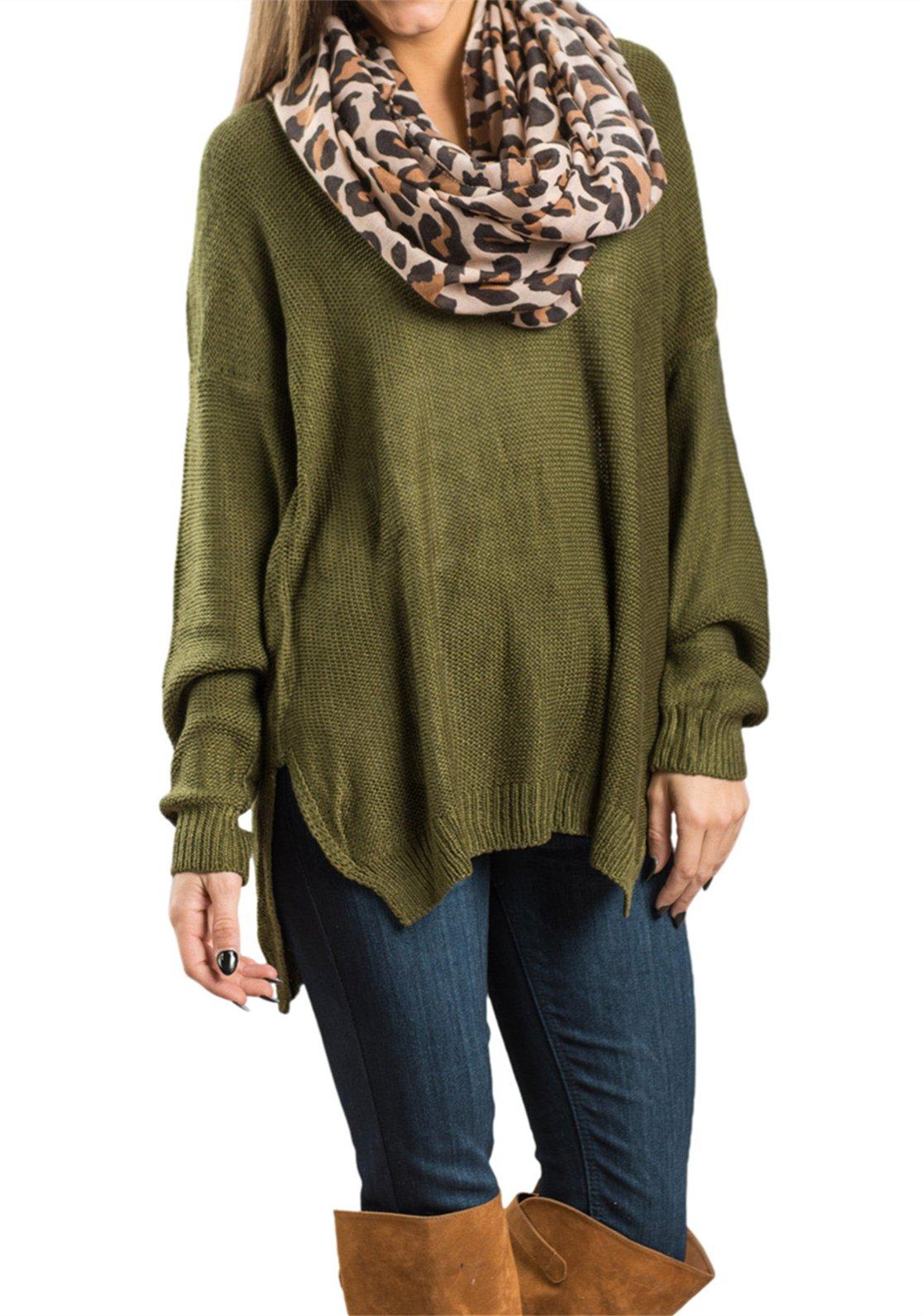 AMAURAS Size 4-34 Women Loose Sweater Top Casual V Neck Shirt Ladies Long Sleeve Tunic