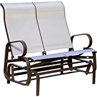 Outsunny Double Seat Glider Garden Bench Outdoor Rocking Porch Chair Patio Furniture, Brown & Beige