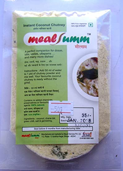 mealsumm White Coconut Chutney for idli, dosa, uttapam and Vada, 300 gm - Pack of 6