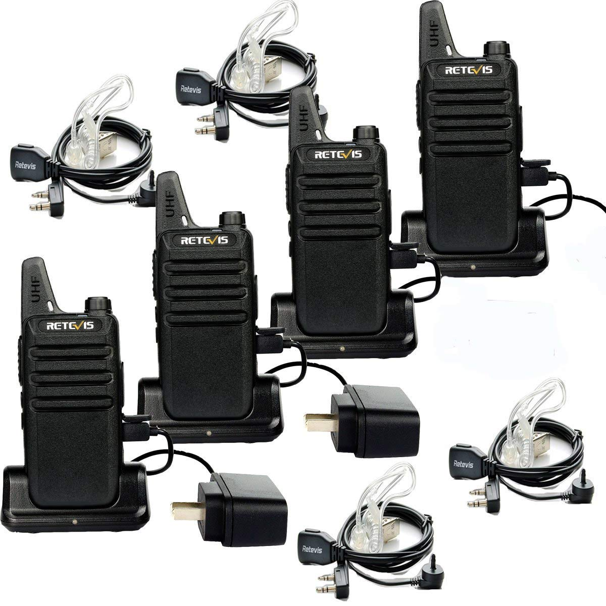 Retevis RT22 Walkie Talkies Rechargeable 16 CH FRS VOX Two Way Radios with USB Charging Base 4 Pack and 2 Pin Covert Air Acoustic Earpiece 4 Pack