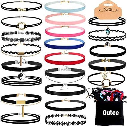 Amazon Com Outee 30 Pcs Choker Set Black Chokers Necklaces For Women Velvet Chokers Necklaces For Teen Girls Henna Tattoo Choker Ribbon Arts Crafts Sewing