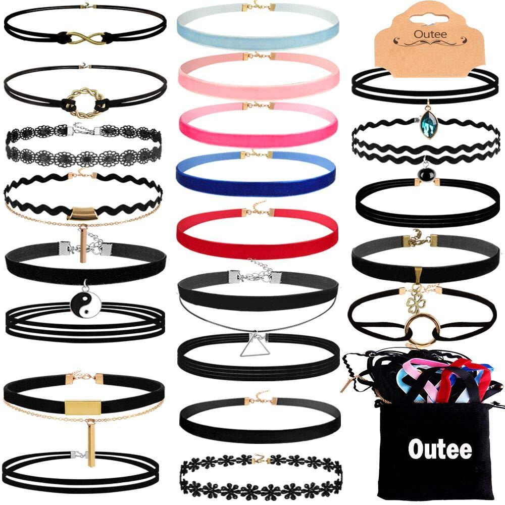 Outee Black Choker Set, 30 Pcs Choker Necklaces Velvet Choker Set Henna Tattoo Choker Ribbon for Teen Girls Women by Outee
