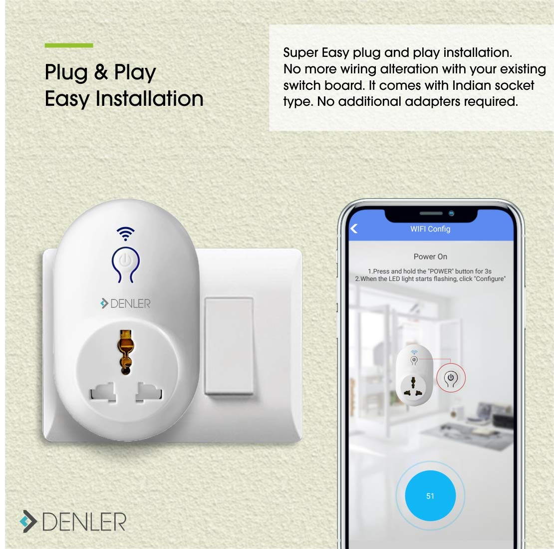 Buy Denlertm Smart Wifi Switch Plug Socket 2200w Home Automation No Wiring A Board Adapter Required Indian Online At Low Prices In India