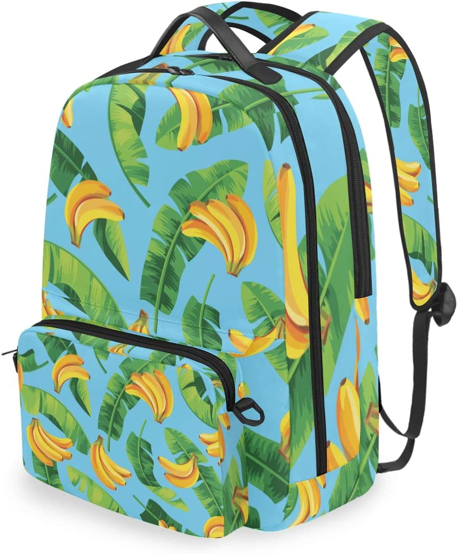 ALLMILL Seamless Pattern Banana Leaves Bananas Vector School Backpack