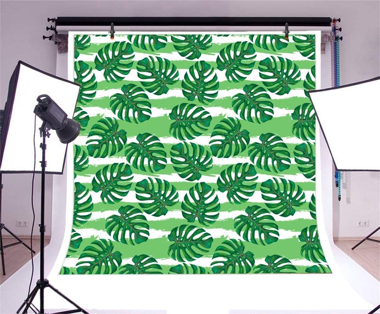 7x7ft Cartoon Tropical Leaves Illustration Green Striped Polyester Photography Background Summer Party Foliage Backdrop Portrait Shoot Birthday Banner Wallpaper YouTube Background Studio Props