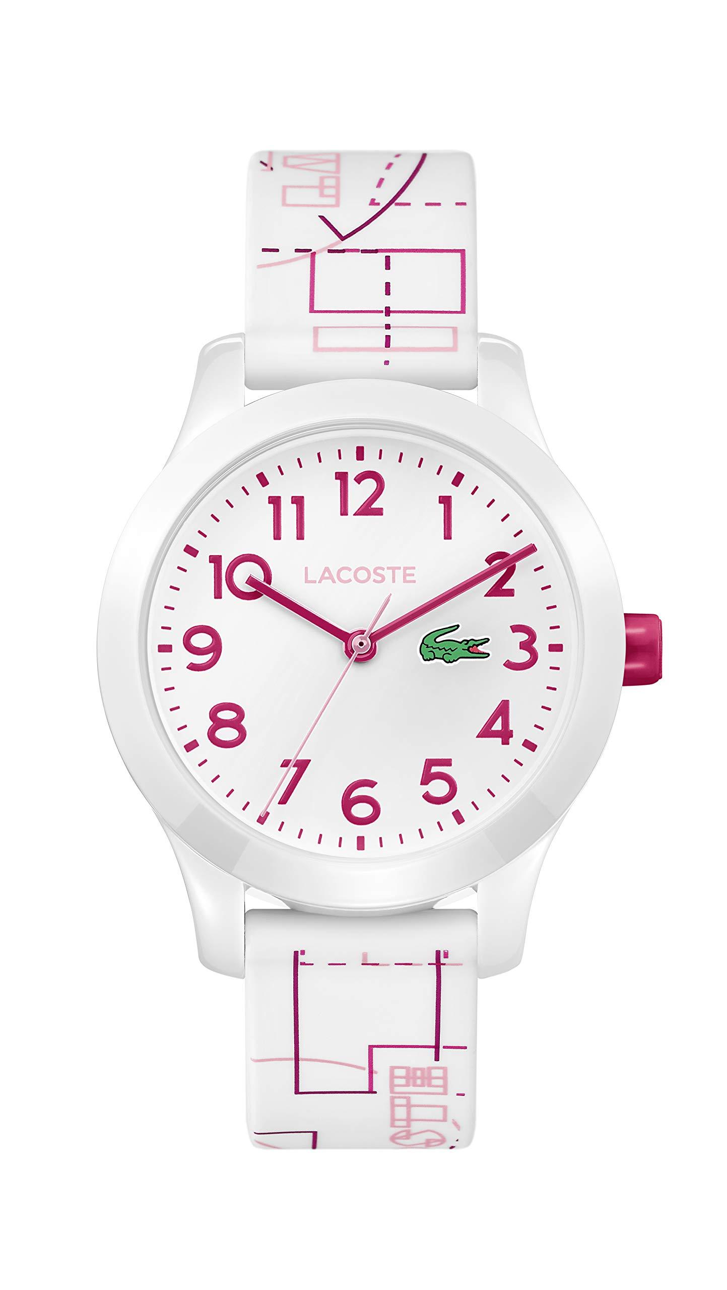 Lacoste Kids Lacoste.12.12 Kids Quartz TR-90 and Rubber Strap Casual Watch, Color: White (Model: 2030009)