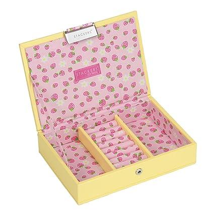 STACKERS mini size color amarillo con tapa Joyero con forro de fresas